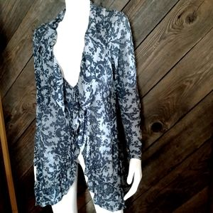 Chalet blue ruffled cardigan size Medium